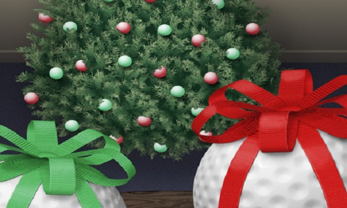 Xmas tree decorated with golf balls with wrapped balls close-up